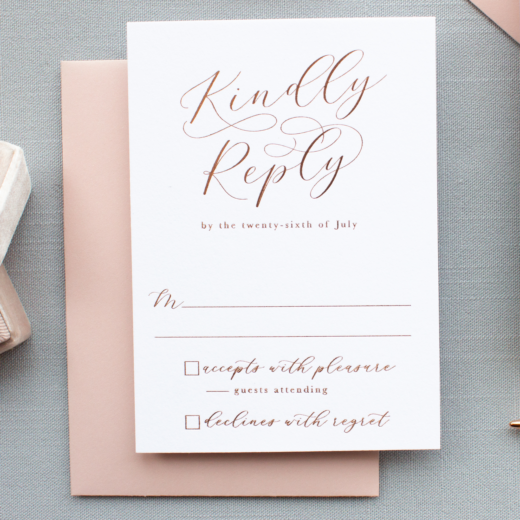 rose gold foil wedding reply card