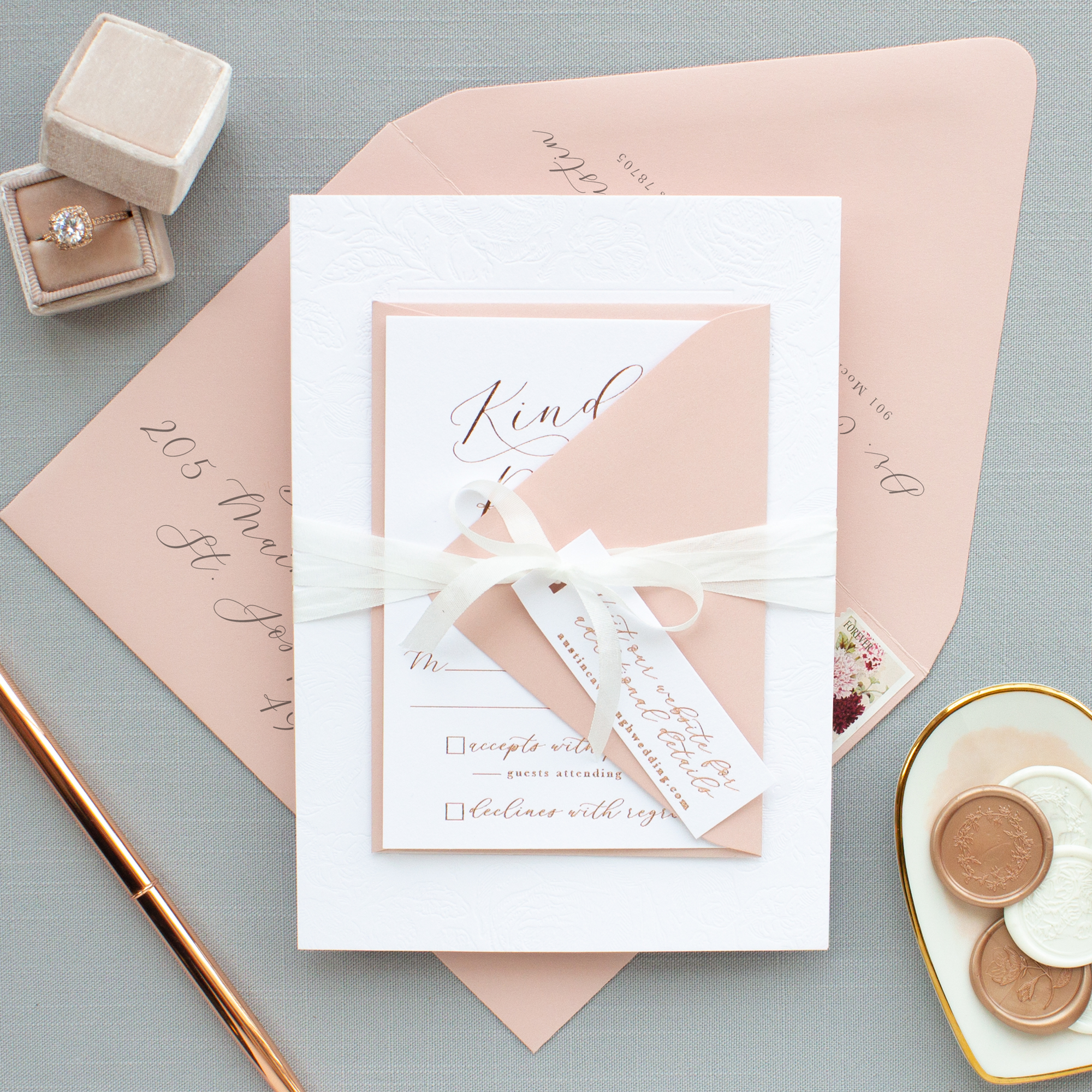 dusty rose envelopes for wedding invitation suite