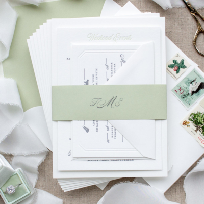 sage and gray letterpress invitations