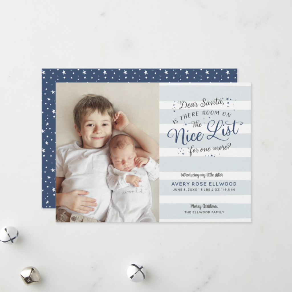 Nice List Christmas birth announcement