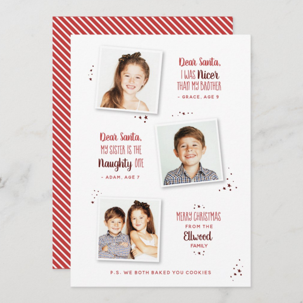 naughty or nice funny holiday photo cards