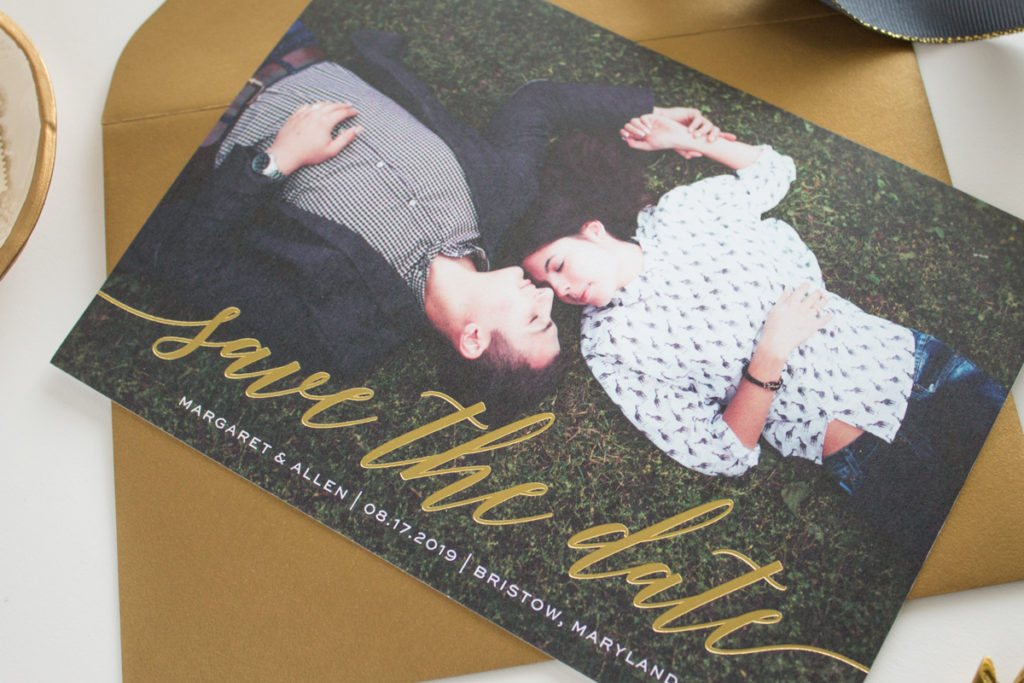foil stamped save the date