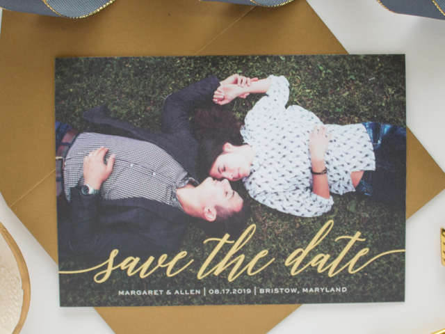 Scripted Gold Foil Save the Date