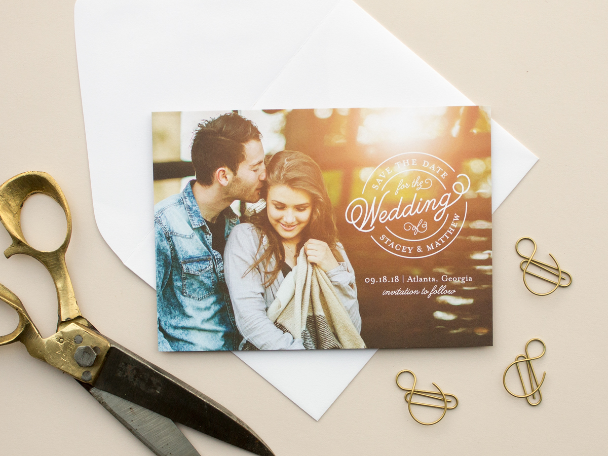 sealed photo save the date card