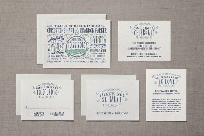 letterpress wedding invites hand lettering
