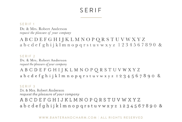serif wedding invitation fonts