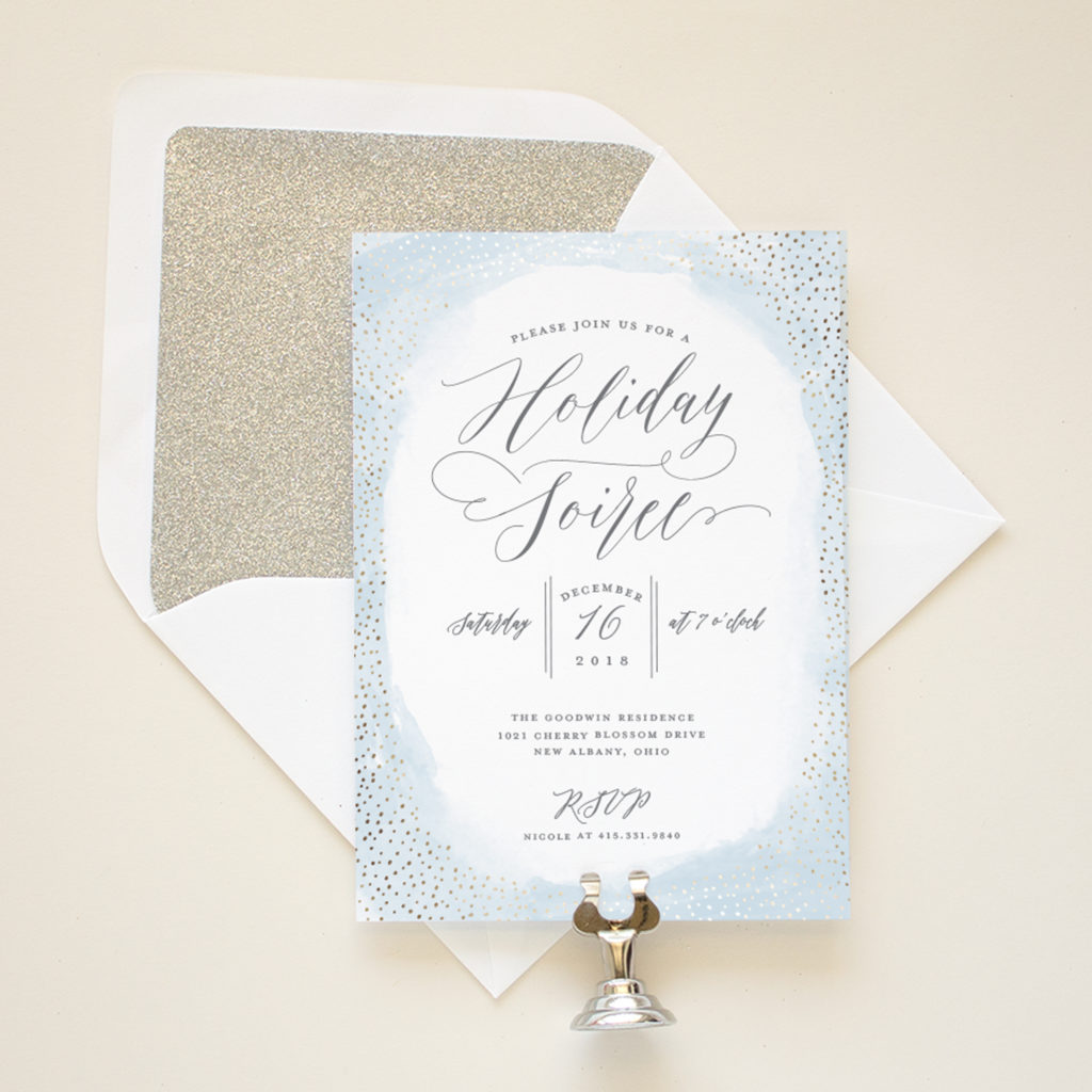 foil pressed christmas invitations