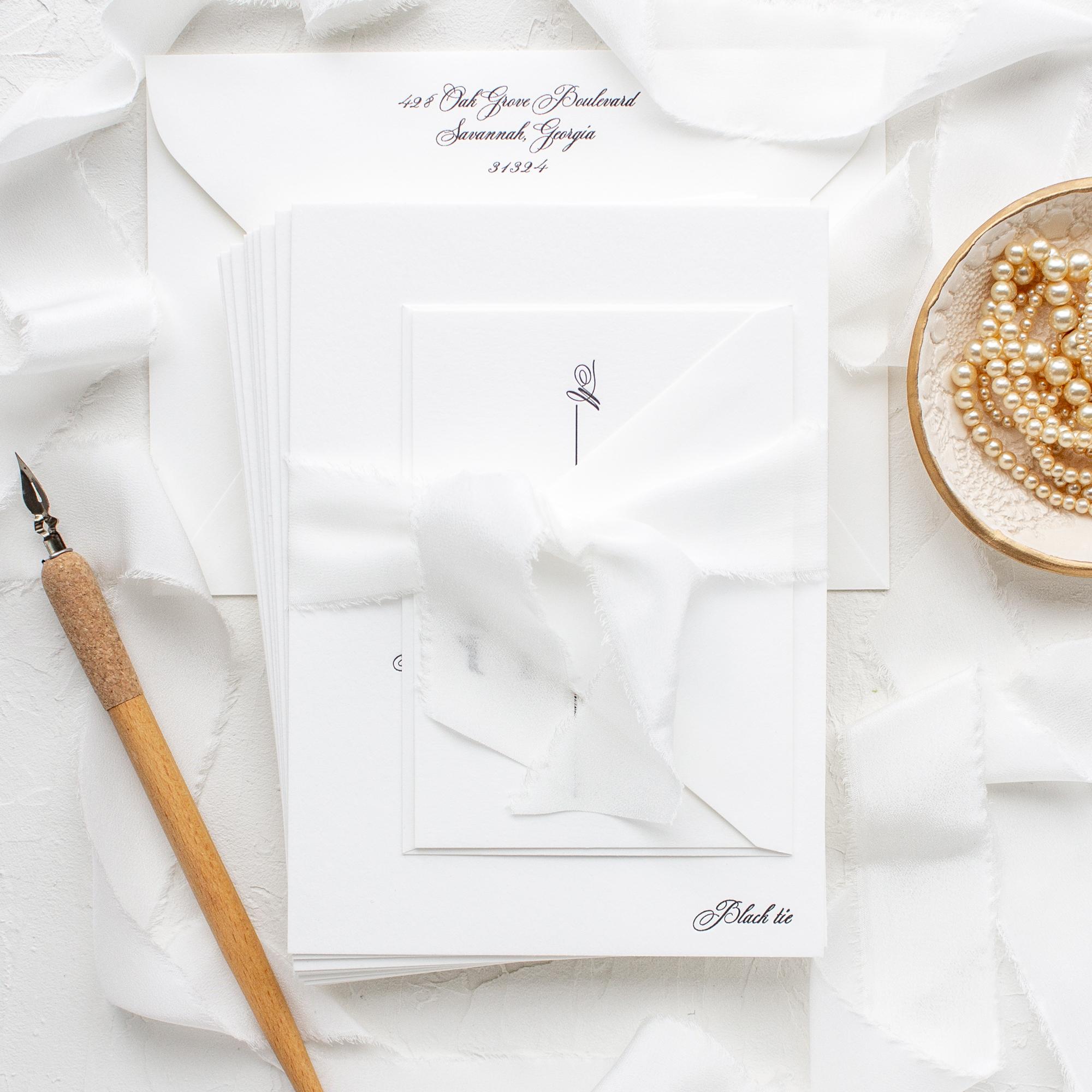 silk ribbon wedding invitation package