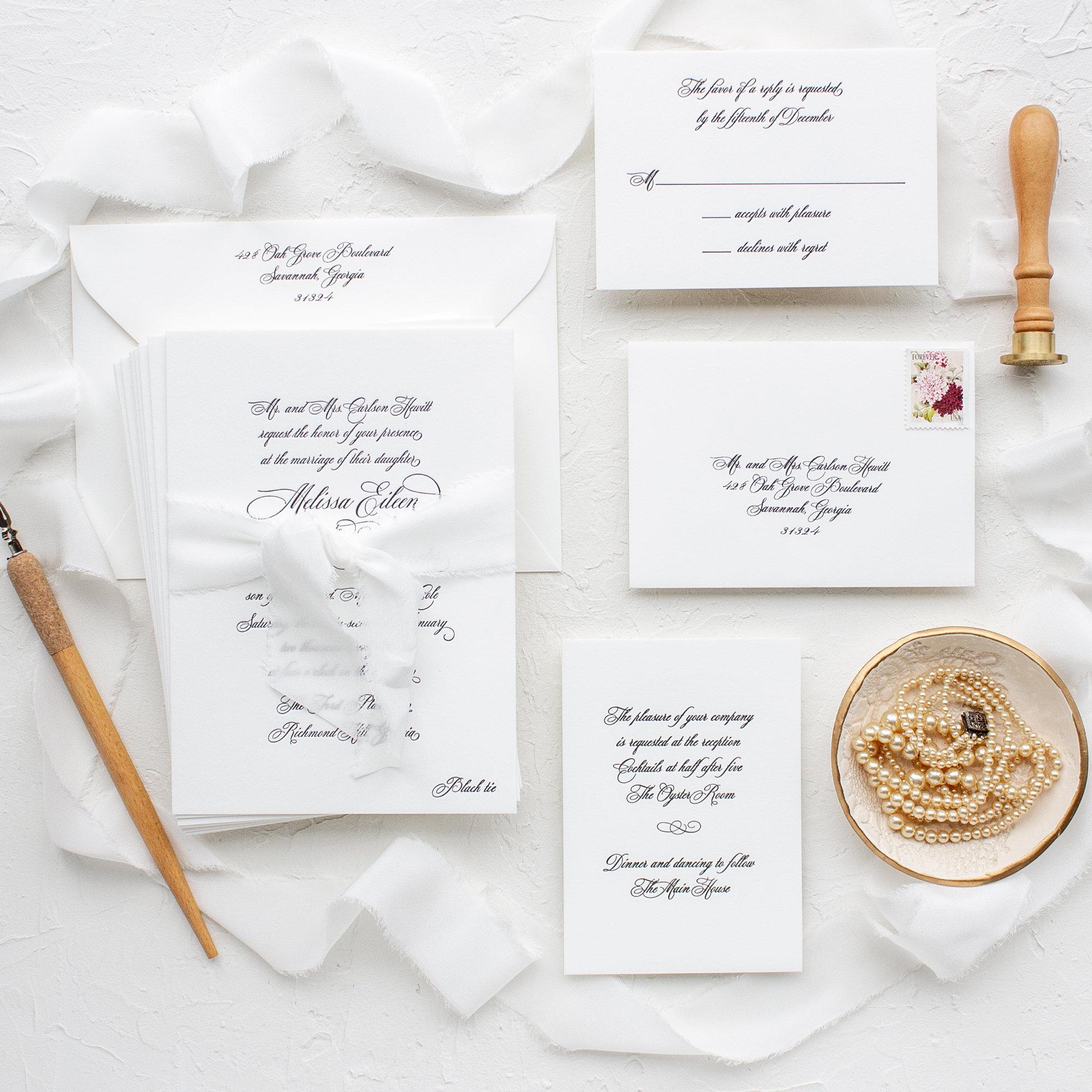 Silk ribbon wedding invitations