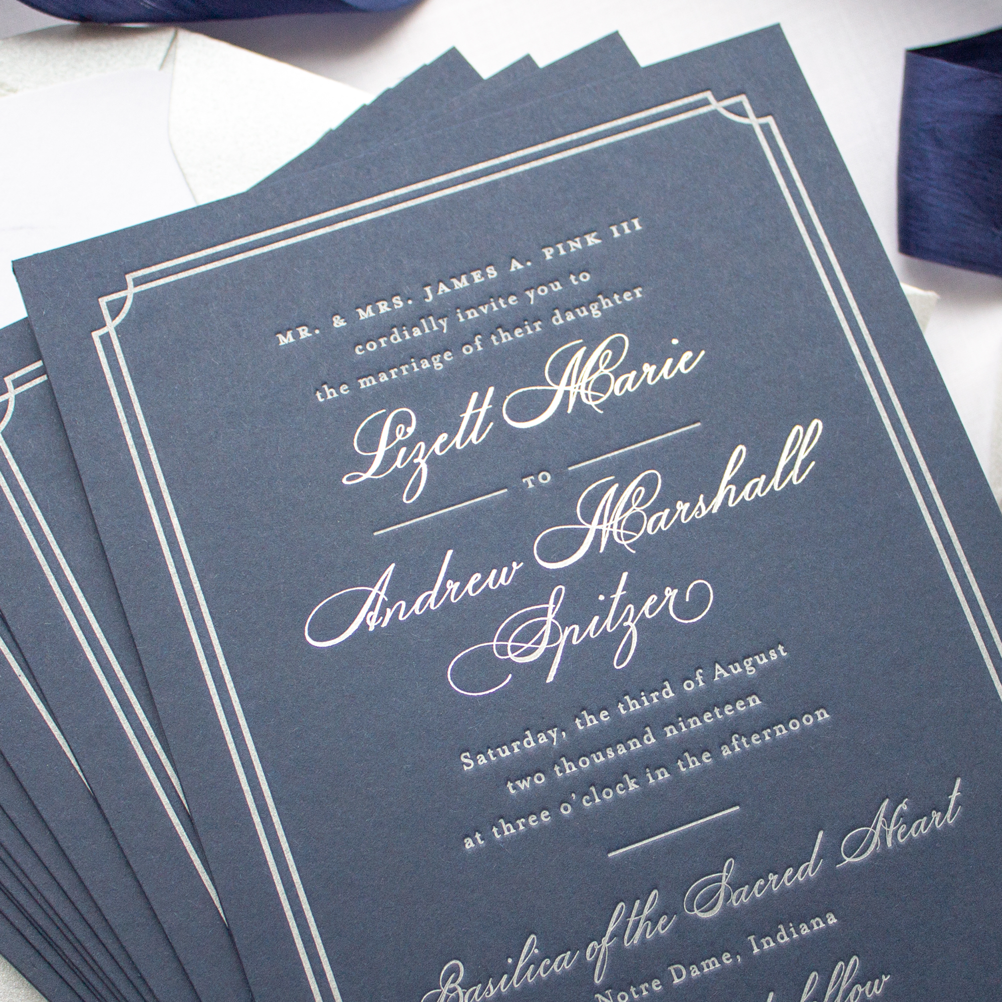 Silver foil and navy custom wedding invitations