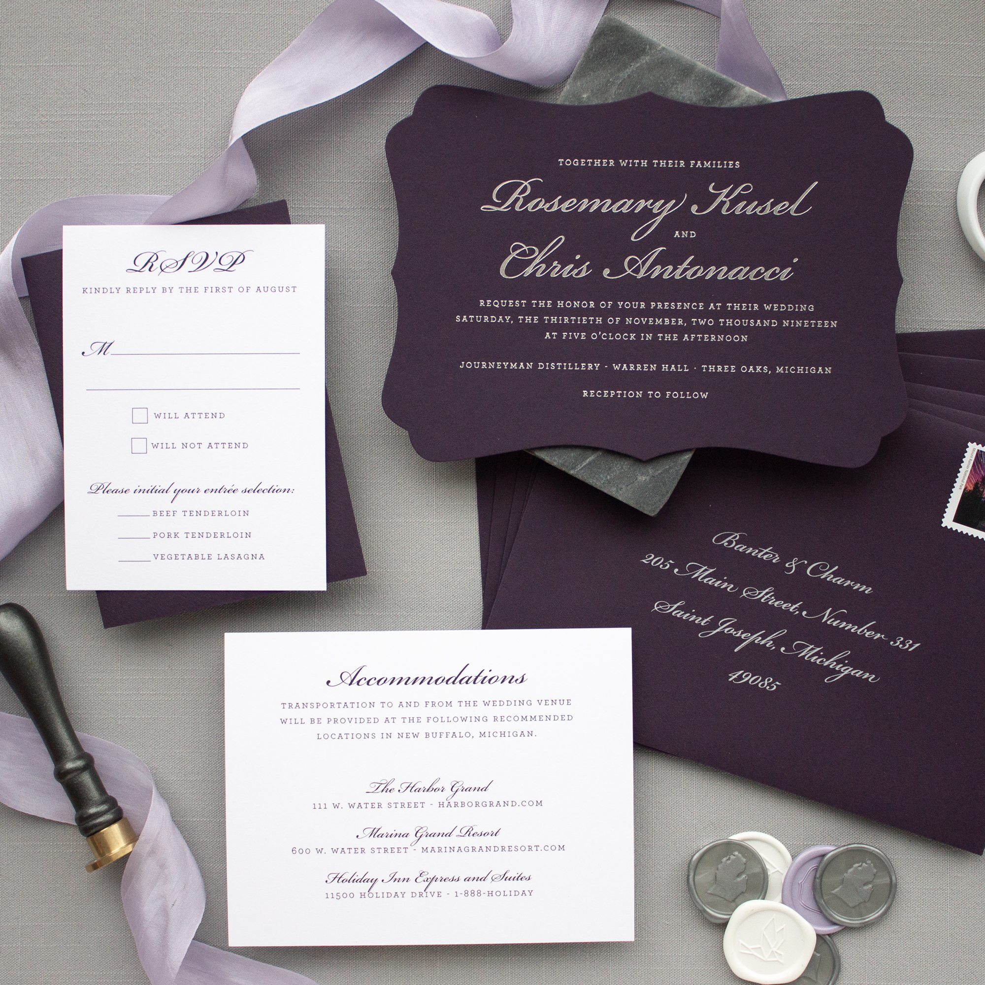 Silver foil and eggplant invitation suite