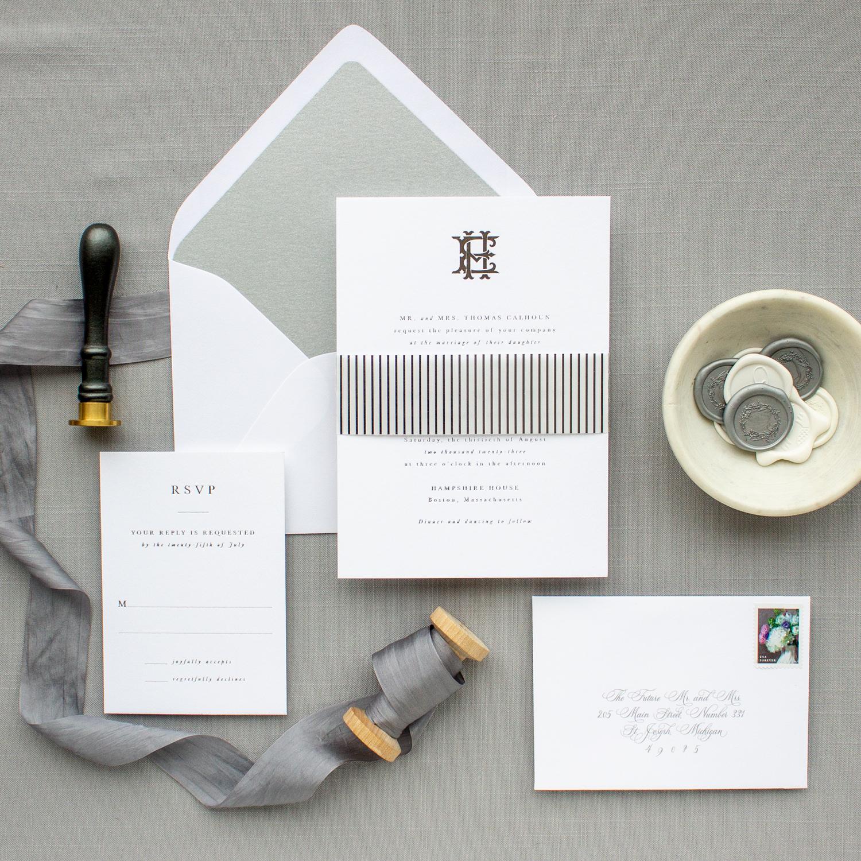 silver foil formal invitation suite