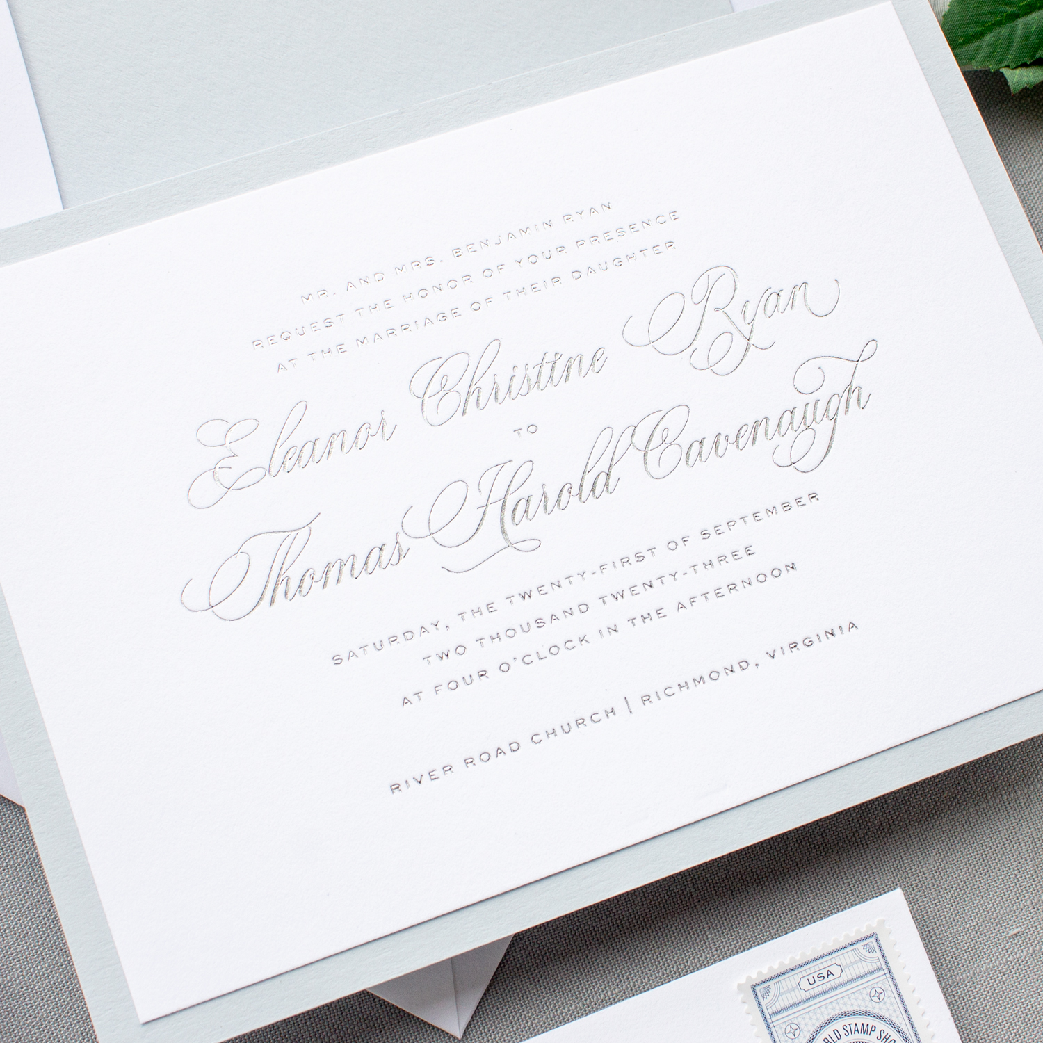 Silver foil pressed wedding invitations