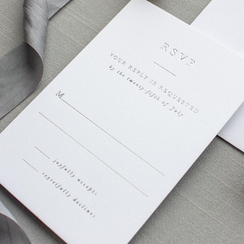 silver foil wedding rsvp card