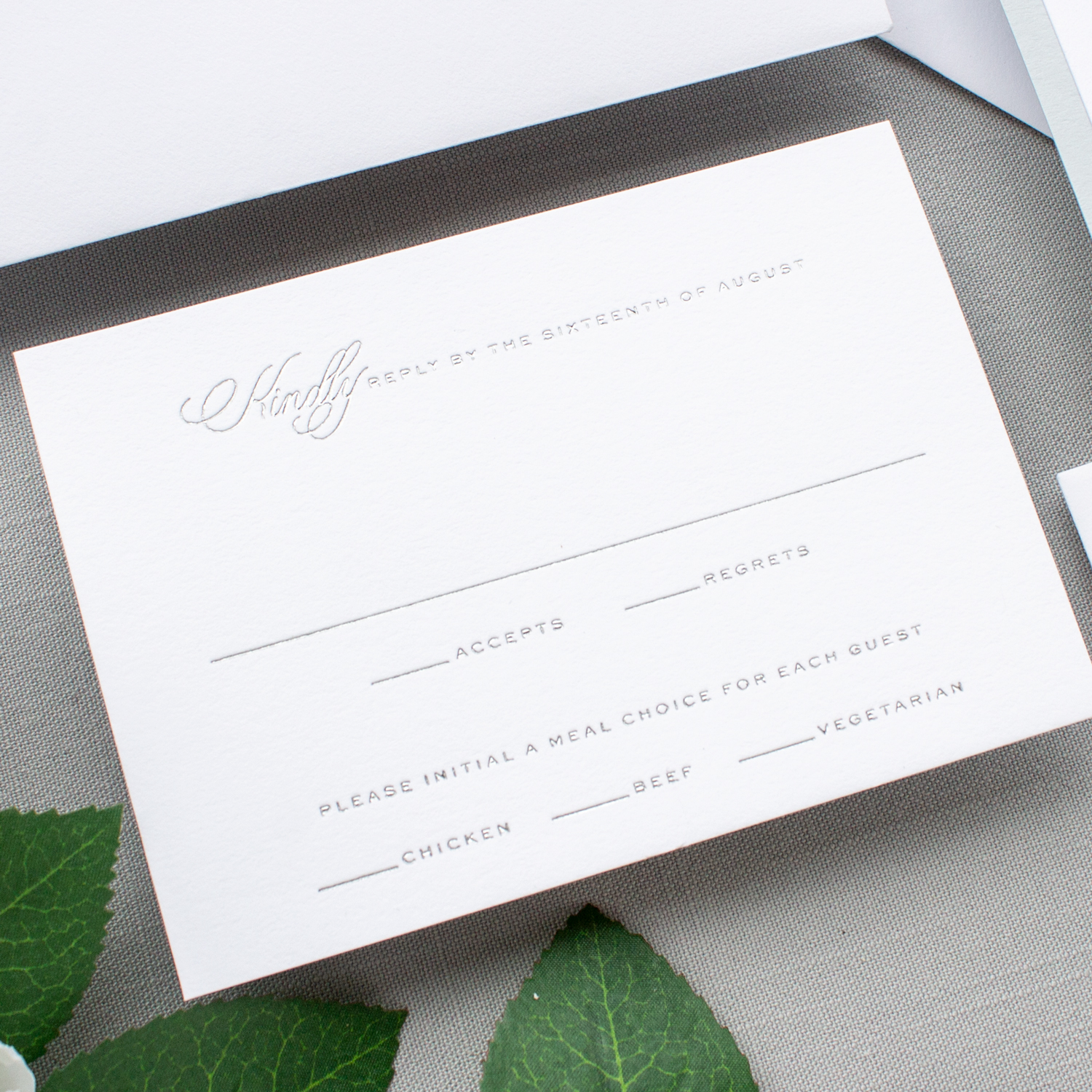 silver foil wedding reply card