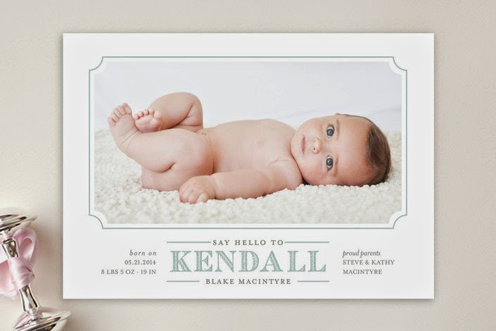 baby boy birth announcement for Minted