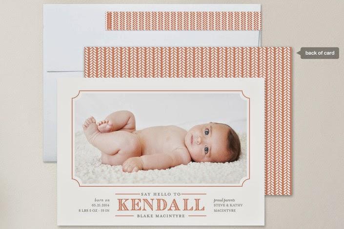 modern baby announcement photo card
