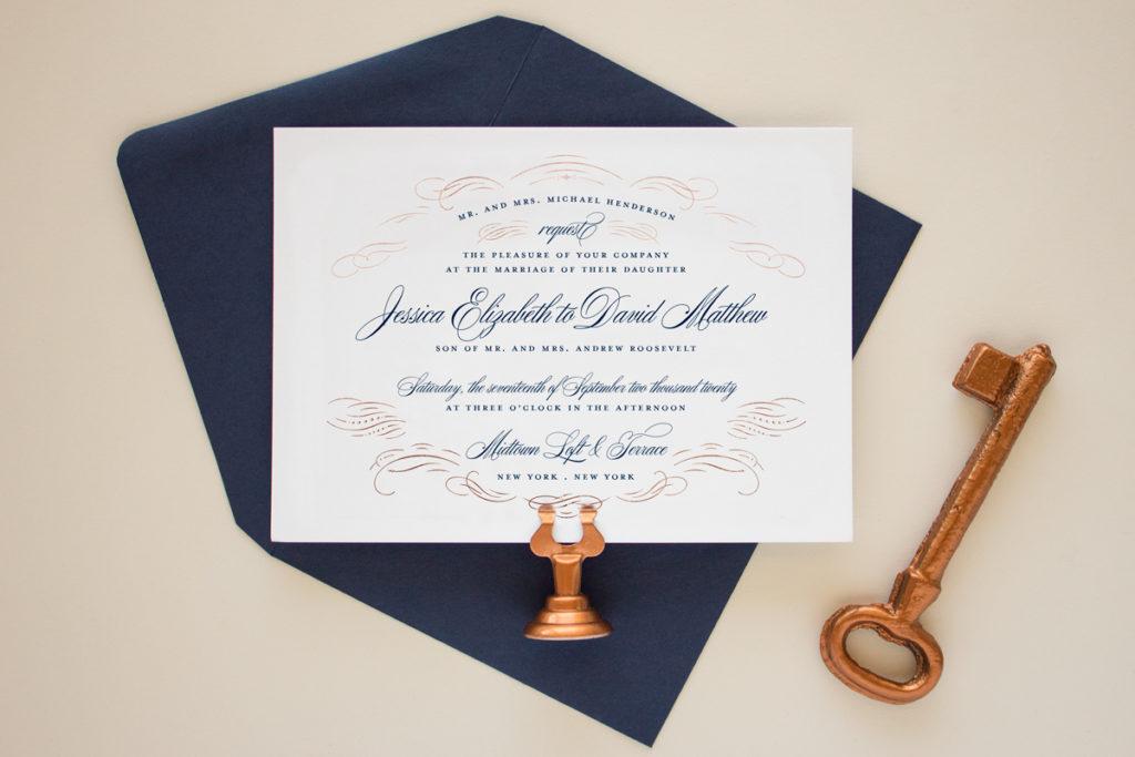coper foil and navy wedding invitations