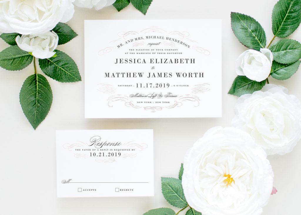 rose gold formal wedding invitations
