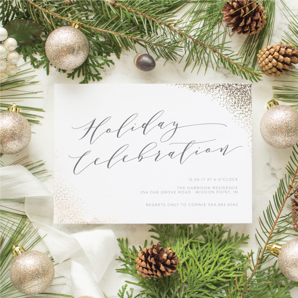 gold foil invitations for holiday cocktail party