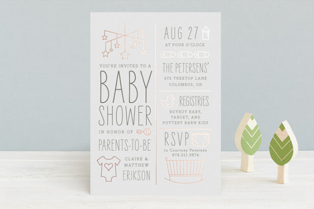 rose gold shower invitation