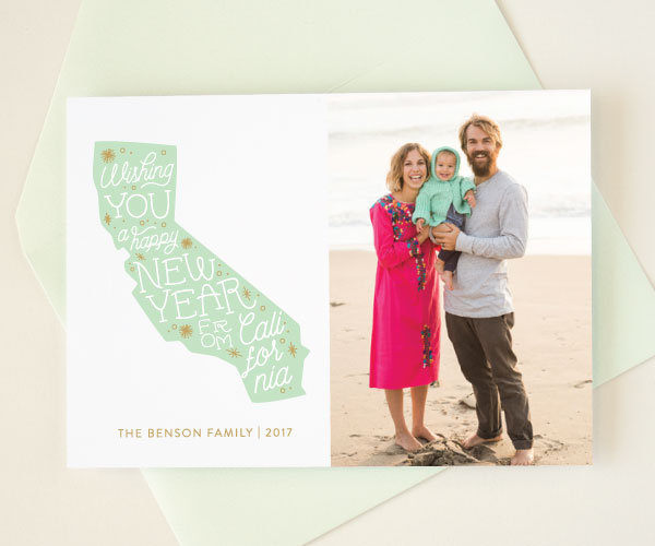 new year photo card from California