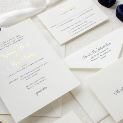 Custom gold foil wedding invitations