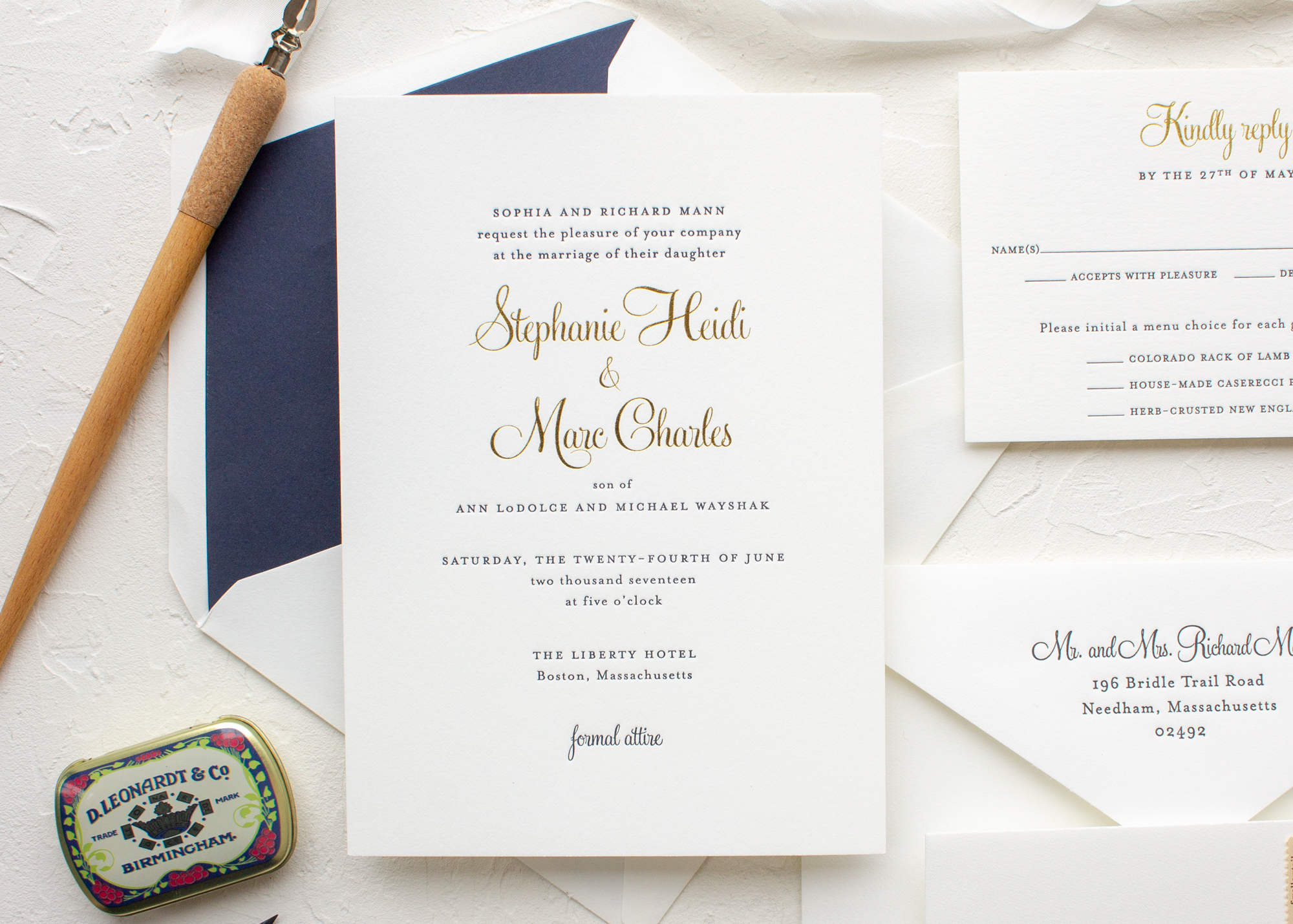 Gold foil and navy letterpress wedding invitations