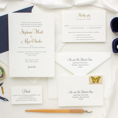 Gold and navy custom invitation suite
