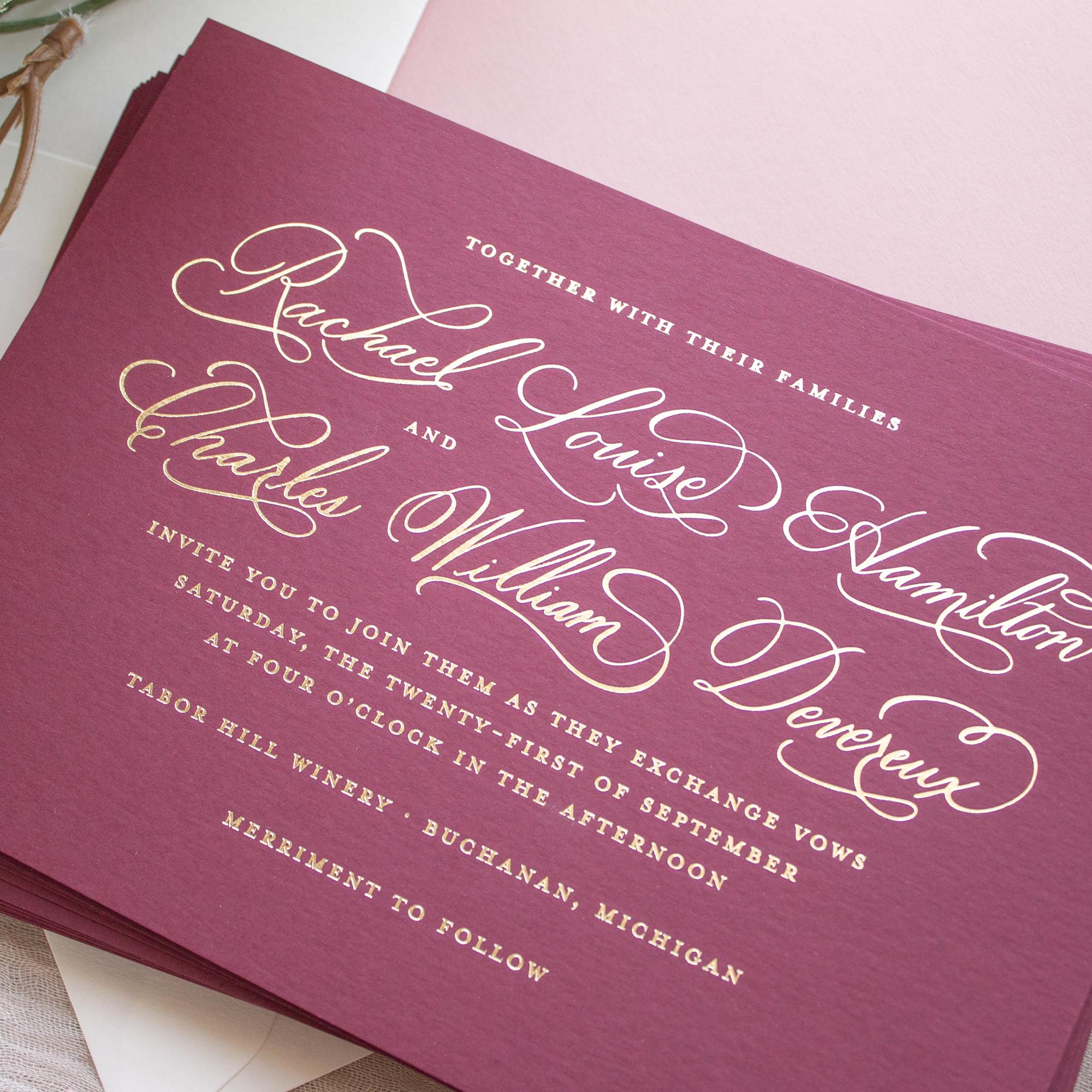 tabor hill winery wedding invitation