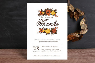 thanksgiving, give thanks, autumn, fall, party invite, leaves, foliage