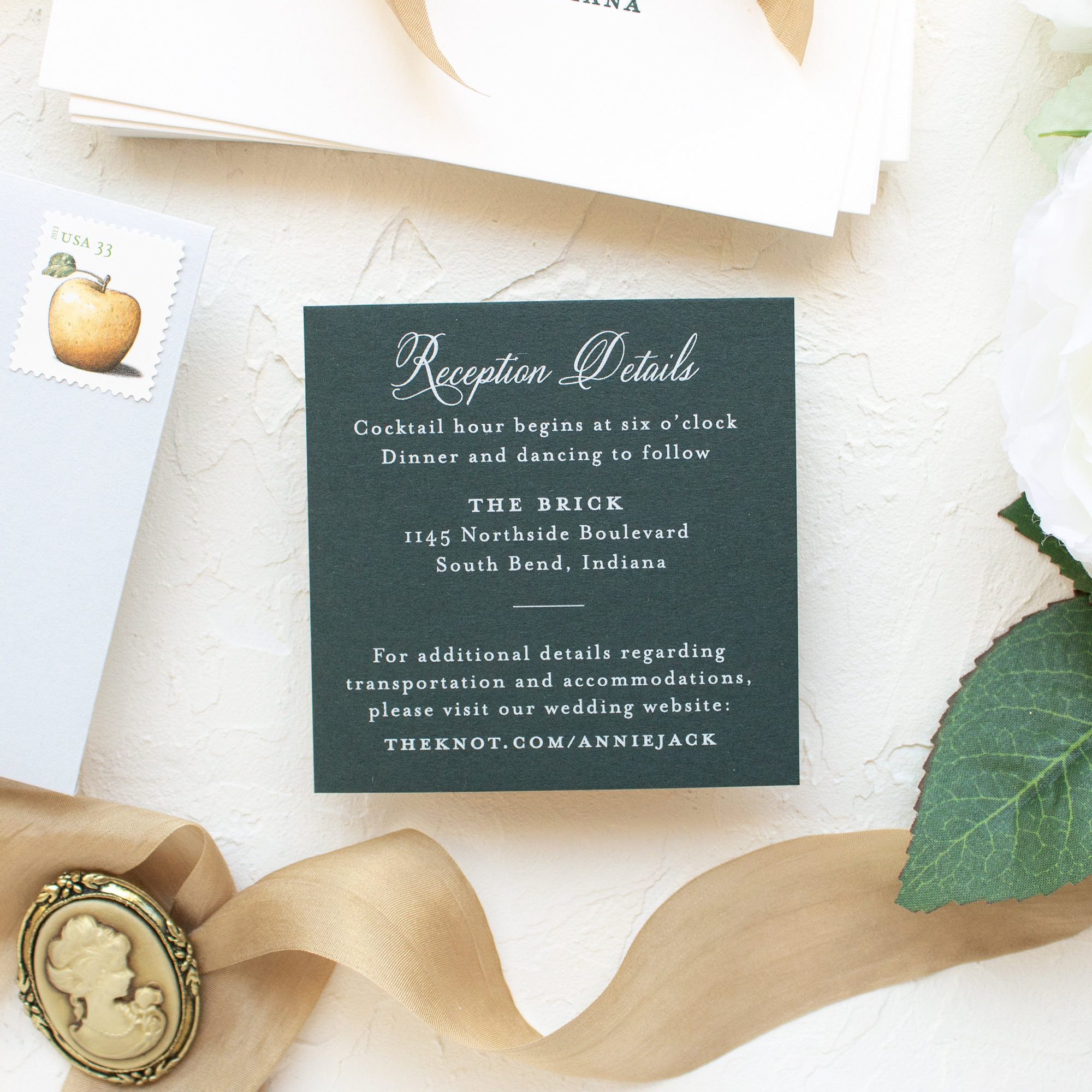 the brick wedding reception card