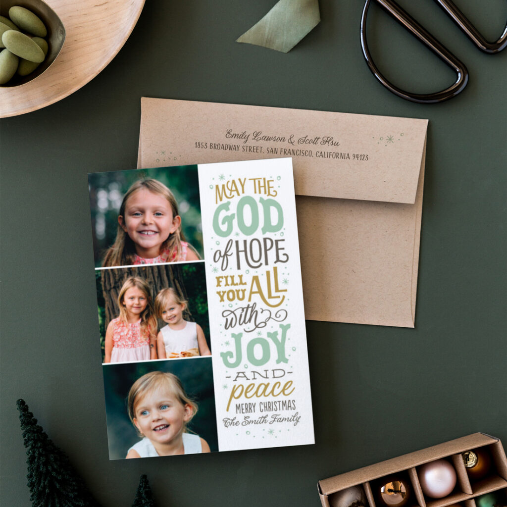 The God of hope religious Christmas cards