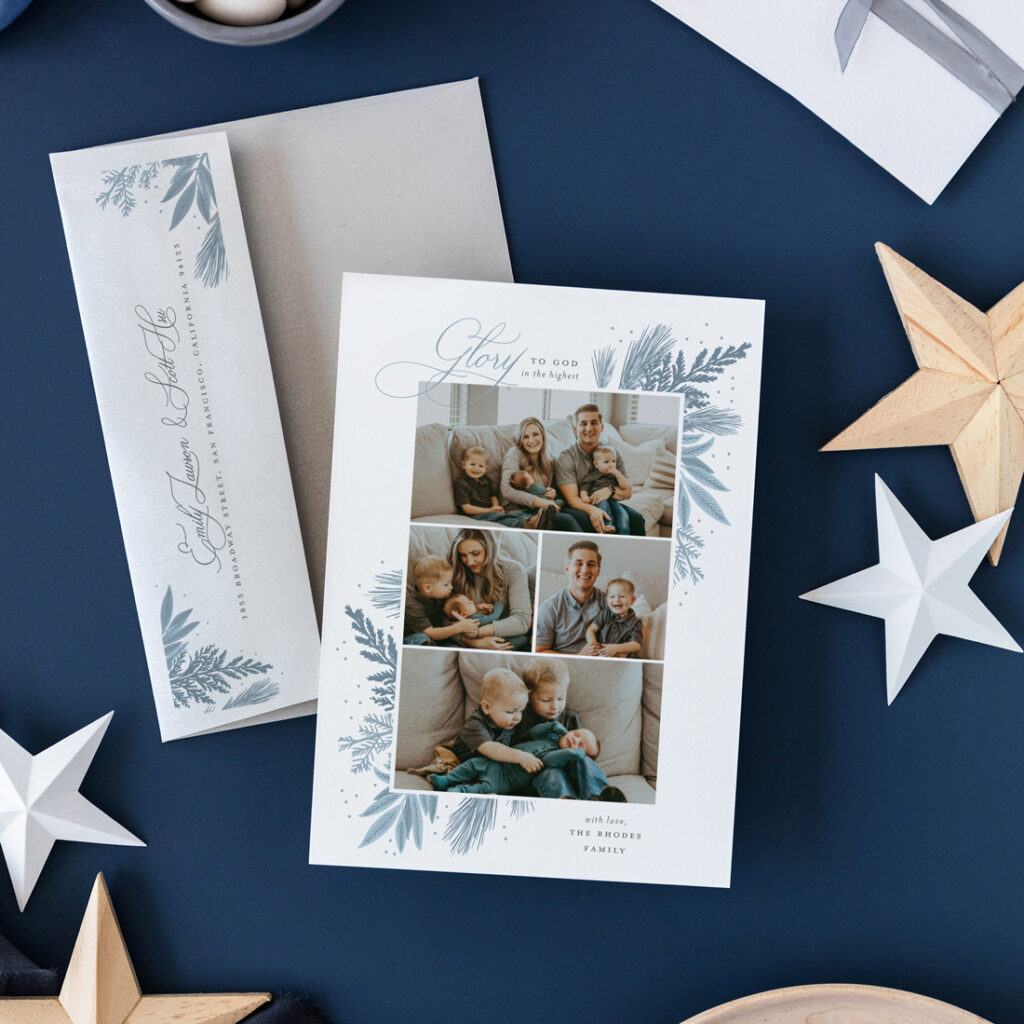 Glory to God Christian holiday photo cards