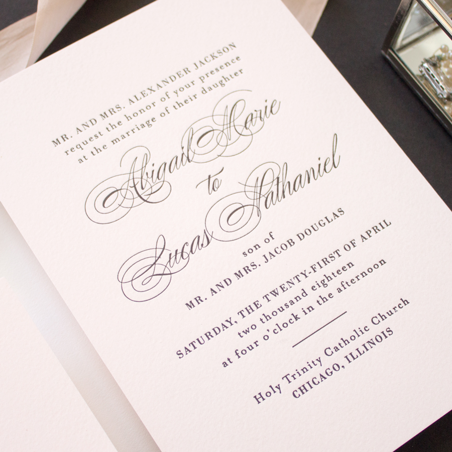 pink and black wedding invitaitons
