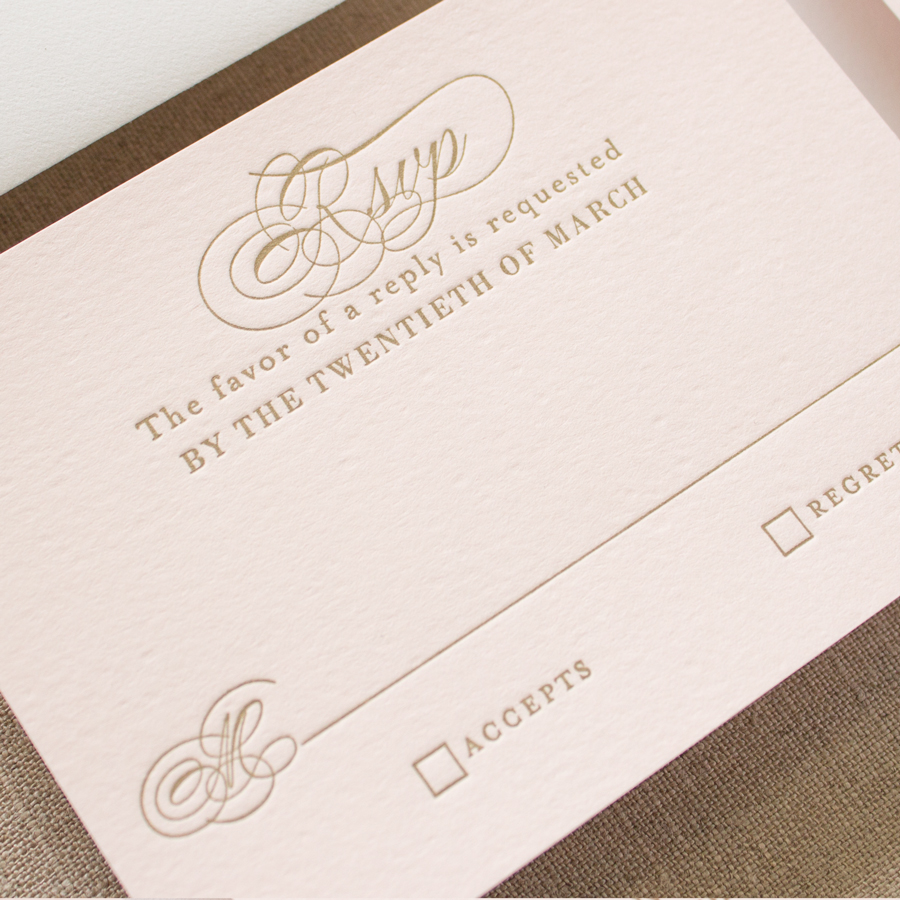 gold letterpress wedding invites
