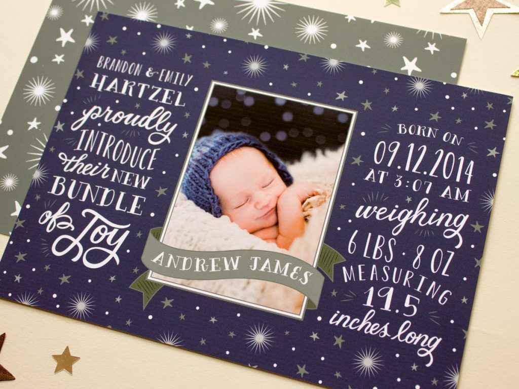 baby boy photo birth announcement