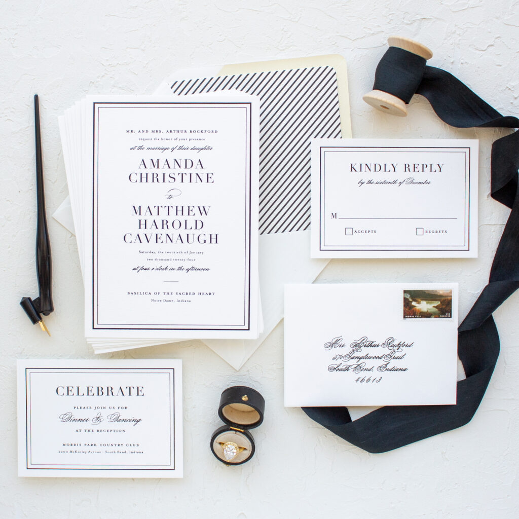 traditional invitation with black border