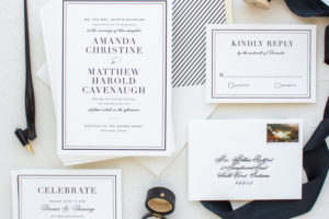 traditional invitation suite in black and ecru