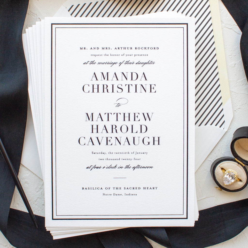 classic wedding invitations for Notre Dame wedding