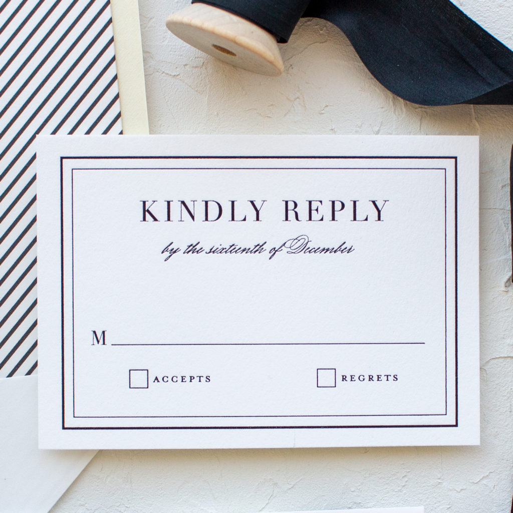 traditional wedding reply card