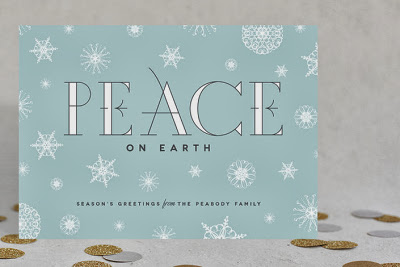 snowflake holiday card, christmas card, peace