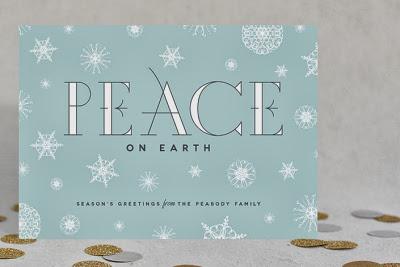 snowflake holiday card, christmas card, peace