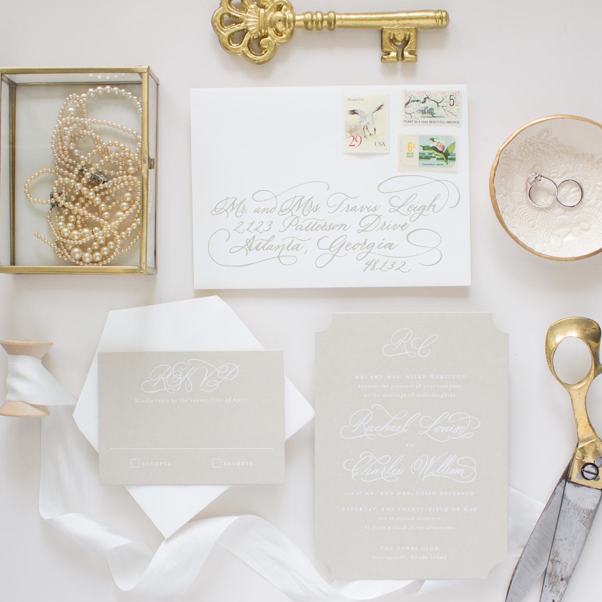 custom hand calligraphy wedding invitations