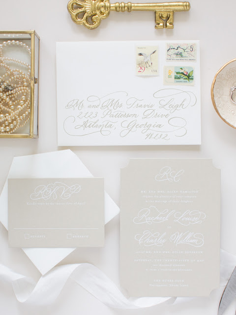 neutral invitations with hand calligraphy