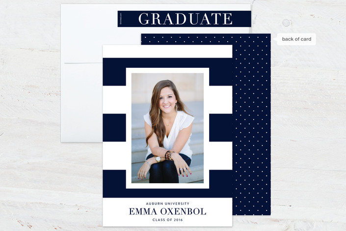 graduation photo cards with stripes