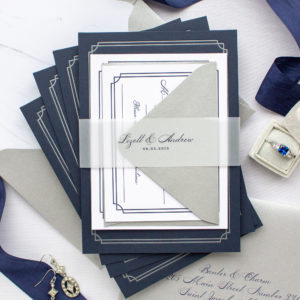 Notre Dame Wedding Invitations in Navy and Silver | Lizett