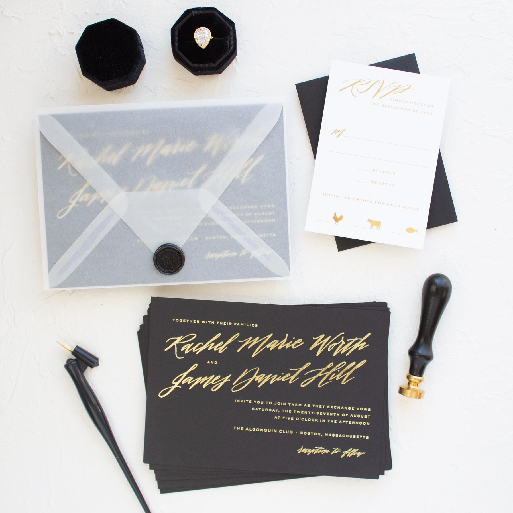 vellum and wax seal wedding invitations