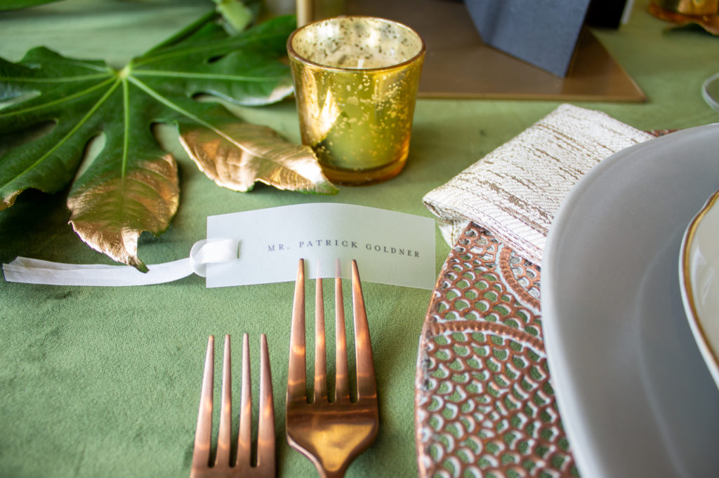 vellum place cards with ribbon