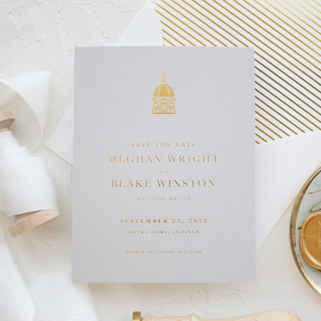 venue sketch save the date gold foil